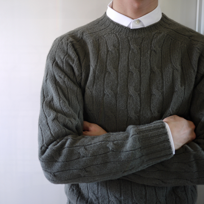 CHAUNCEY / Lambs Wool Crew Neck Cable Knit