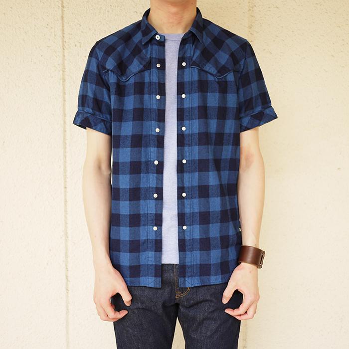 nonnative / Rancher Shirt SS Cotton Indigo Nel Check