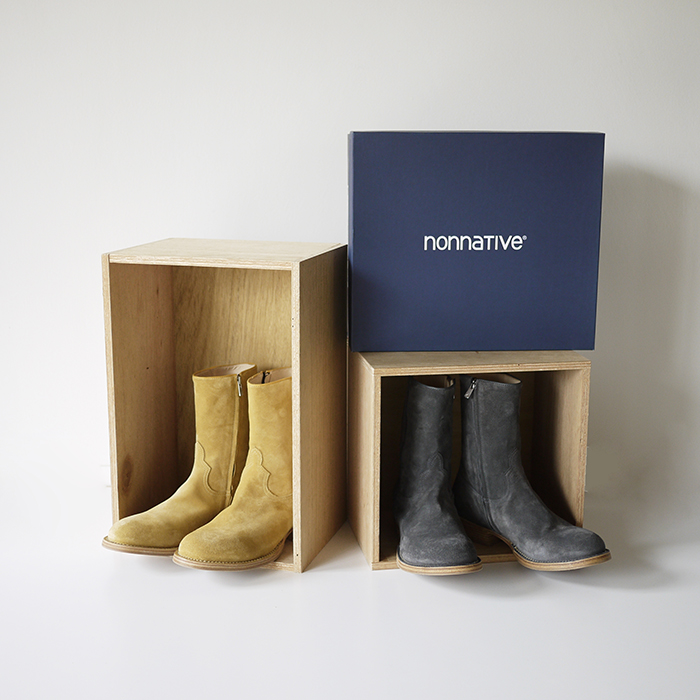 nonnative / Rancher Zip Up Boots Cow Suede by OFFICINE CREATIVE