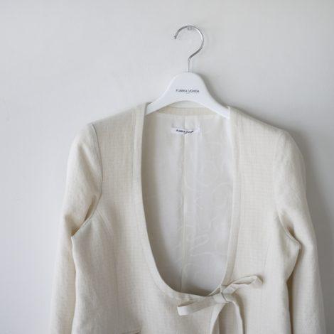fumikauchida-silklinenwovenpatternopenbibjacket
