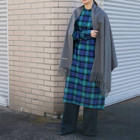 scyewomens-checkedwoollongshirtdress