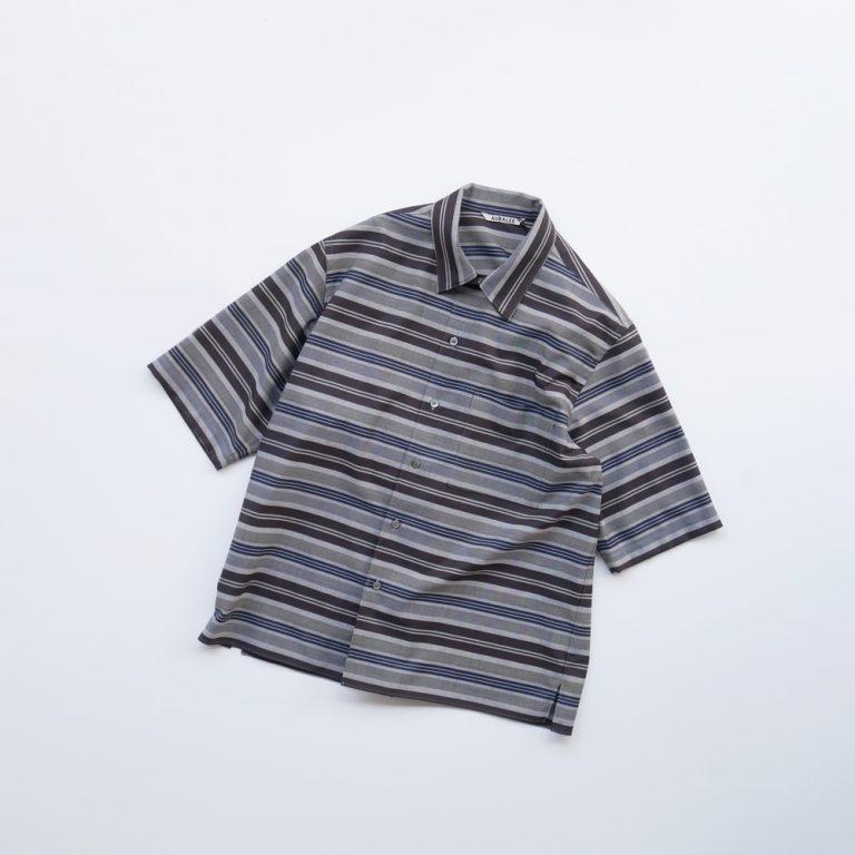 auralee-woolpolyesterborderhalfsleevedshirts